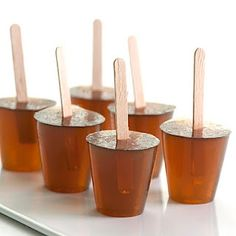 Root Beer Jello ShotsRoot Beer Barrel Jelly Shots Ingredients: 1 cup root beer 2 envelopes plain gelatin (Knox) cup root beer flavored vodka 2 tbsp Sambuca (the clear variety will work best here) Wooden coffee stirrers, for garnish, if desired Vodka Jelly Shots, Jello Pudding Shots, Fireball Jello Shots, Best Jello Shots, Fun Drinks, Yummy Drinks, Alcoholic Beverages, Party Drinks, Shots Drinks