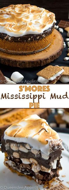 Mississippi Mud Pie with a S'mores twist! This decadent S'mores Mississippi Mud Pie combines the classic campfire treat with a traditional Mississippi Mud pie. With a buttery graham cracker crust, fudgy brownie base, thick and rich dark chocolate pudding with marshmallows mixed in, then topped off with a fluffy toasted meringue — this summer dessert is to die for!
