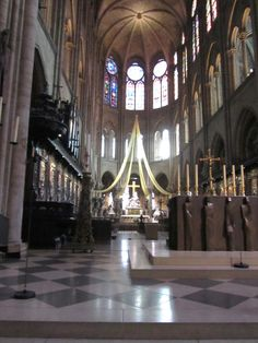 Paris, France - Notre-Dame 1163, inside can hold 9,000 people