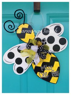 Bumble Bee Wooden Door Hanger, Door Sign by CharmingSouthNC on Etsy https://www.etsy.com/listing/243650825/bumble-bee-wooden-door-hanger-door-sign