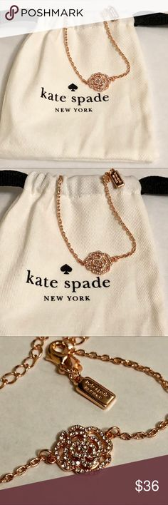 """🤪SALE🤪Kate spade rose gold pave rose bracelet Beautifully elegant , this Kate Spade link bracelet is made of 12k rose gold plating with an pave' rose . Brand new with dust bag included .  Measures : 7"""" with a 3"""" extender .  Sale price is FIRM kate spade Jewelry Bracelets"""