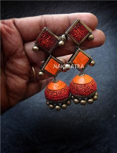 Handmade Terracotta Orange And Red Color Dome Shaped 2 Layered Jhumka Earring By Nakshatra Funky Earrings, Funky Jewelry, Fabric Jewelry, Clay Earrings, Polymer Clay Jewelry, Copper Jewelry, Terracotta Jewellery Online, Terracotta Jewellery Designs, Teracotta Jewellery