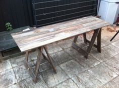 Two Metre Long Tumber Trestle Table made from recycled fence palings