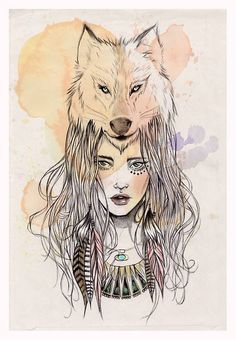 "artforadults: "" new illustration by miss led Art And Illustration, Illustrations, Wolf Tattoos, Body Art Tattoos, Tatoos, Tatoo Art, Wolf Girl, Amazing Art, Wolves"