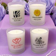 Personalized Wedding Frosted Glass Votive Candles