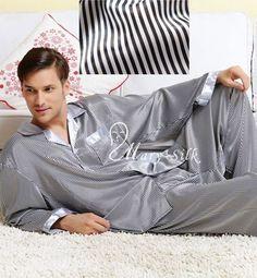 3f470be2dc Mens Silk Pajamas Pyjamas Pajama PJS Sleepwear Set U.S.S