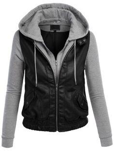Leather Jacket Women Grey With Hood