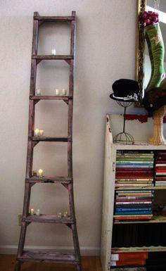 ESCALERA + DIY + velas- DECORAMOS RINCONES  Ladder & candles