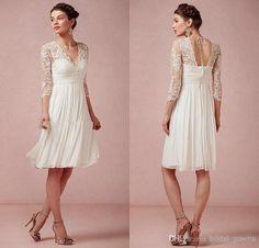 Hot Sale Bridesmaid Dress 2015 Beach Lace V Neck Ivory Long Sleeve Knee  Length Short Bridal