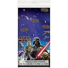 Star Wars Party Props Perfect for Halloween and Birthdays. Find Stormtrooper, Chewbacca props and standees. There are Stars Wars candy bowls + more. Plastic Table Covers, Plastic Tables, Plastic Tablecloth, Star Wars Party Supplies, Star Wars Decor, Star Wars Merchandise, Star Wars Costumes, Star Wars Birthday, 3rd Birthday