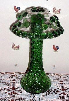 green glass by nastybrat, via Glass Garden Flowers, Glass Plate Flowers, Glass Garden Art, Glass Art, Art Flowers, Cut Glass, Glass Bird Bath, Glass Mushrooms, Garden Deco