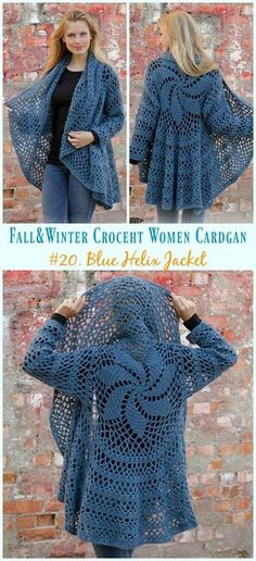 & Winter Women Cardigan Free Crochet Patterns Blue Helix Jacket Crochet Free Pattern - Fall & Winter Women Free PatternsHelix (disambiguation) A helix is a spiral-like space curve. Helix may also refer to: Crochet Patterns Free Women, Crochet Shawl Free, Crochet Motifs, Knitting Patterns, Crochet Hats, Crochet Shrugs, Sewing Patterns, Clothes Patterns, Crochet Sweaters