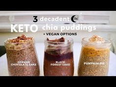 3 Decadent Keto Chia Pudding Recipes | How to Make Chia Pudding that Actually Tastes like Dessert - YouTube Baby Food Recipes, Keto Recipes, Dessert Recipes, Jello Desserts, Healthy Recipes, Keto Chia Pudding, Pudding Recipes, Keto Chocolate Recipe, Keto Whipped Cream