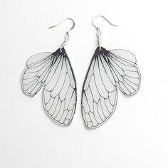 Cicada wing dangle earrings by horseflesh on Etsy