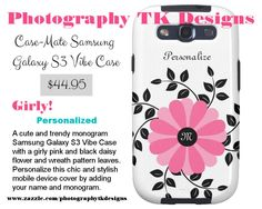 Trendy Monogrammed Pink And Black Flower With Name Galaxy SIII Cover http://www.zazzle.com/trendy_monogrammed_pink_and_black_flower_with_name_case-179805798637988445?rf=238835258815790439 #phonecases #girly
