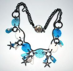 Sanddollar and Starfish Necklace and Earring set by Wicked Faerie Jewelry