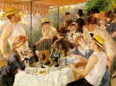 ¨El almuerzo de los remeros¨ - Pierre Auguste Renoir.  Renoir sintió una especial atracción hacia las escenas de la vida cotidiana cargadas de alegría y vitalidad. Un perfecto bodegón de botellas, frutas, platos y copas preside la composición, demostrando Renoir con él su facilidad para ese género. La luz, tomada directamente del natural, la disposición de las figuras en la escena y los rostros de los personajes son totalmente convincentes y cautivan inmediatamente al espectador.