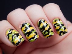 Chalkboard Nails: Easy Camouflage Nail Art Tutorial #iheartnailart