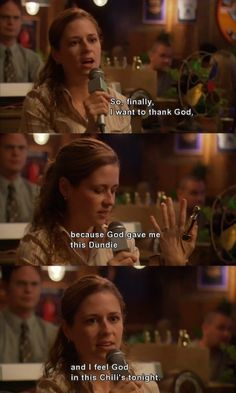 """When Pam accepted her Dundie. 