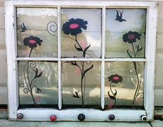 Vintage Farmhouse Wood Window  Antique Bubble by theglasslotus