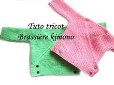 BRASSIERE BEBE KIMONO FACILE Taille naissance Point mousse Aiguilles 3 1/2 50 mailles