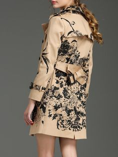 Yellow Vintage Cotton Printed Trench Coat with Belt