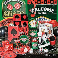 "Casino Night Party Supplies    Bring Vegas to your house with a casino night party pack - invites, plates, cups, table cover, streamers, balloons, cutout signs, ""high roller"" can covers, casino rubber duckies, dice containers, and more!"