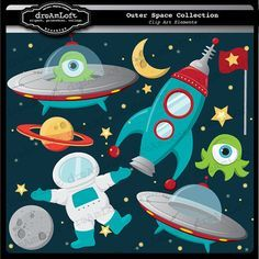 Outer Space Clip Art Digital Collage Sheet Clipart by DreAmLoft