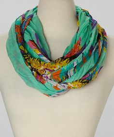 Take a look at this Aqua Sunflower Infinity Scarf on @zulily today!