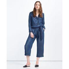 Zara Pajama-Style Jumpsuit (4.970 RUB) ❤ liked on Polyvore featuring jumpsuits, navy blue, white jumpsuit, white jump suit, jump suit, navy jumpsuit and navy blue jumpsuit