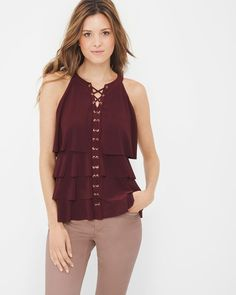 """Our carefree new take on the lace-up trend has a seriously romantic vibe in the season's irresistible burgundy shade. Try it with skimmers in a soft blush hue for something unexpected. The perfect under layer for any jacket—it also pairs well with destructed jeans or a pencil skirt. Lace-front tiered tank Polyester/spandex. Machine wash, cold. Approx. 25"""" from shoulder Imported"""