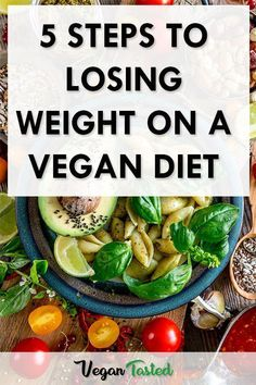 5 Steps To Losing Weight On A Vegan Diet: Before you start a vegan weight loss meal plan these 5 steps are critical to your success. Don't take them lightly! #vegan #plantbased #veganmealplan #veganweightloss #veganfood #loseweight #StomachFatBurningFoods Vegan Meal Plans, Healthy Diet Plans, Healthy Eating, Healthy Recipes, Healthy Foods, Eating Vegan, Healthy Protein, Diet Foods, Keto Meal
