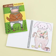 Kids Flip and Farm Animals Book.  Color and then flip to see alll kinds of wacky creatures! From: The Land of Nod