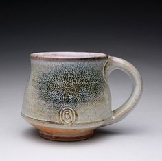 RESEREVED handmade pottery mug, teacup, ceramic cup with orange shino and carbon trap wood ash glazes