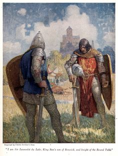 """I am Sir Launcelot du Lake, King Ban's son of Benwick, and knight of the Round Table"" by: N. C. Wyeth (Artist) from: The Boy's King Arthur: Sir Malory's History of King Arthur and His Knights of the Round Table (P. 38) -  1917"