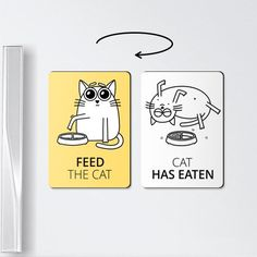 Cat magnets  FEED THE CAT  funny magnets cat by ReminderMagnet