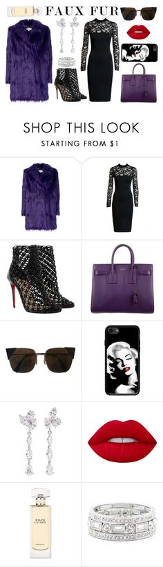 """Faux Fur 2"" by balbadry ❤ liked on Polyvore featuring MICHAEL Michael Kors, Christian Louboutin, Yves Saint Laurent, Fendi, Anyallerie, Lime Crime, Ralph Lauren and Sole Society"
