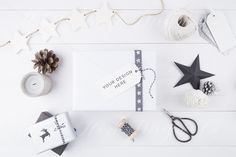 Christmas Gift tag mock up - Overhead white wooden background - High Res Jpeg file by WhiteHartDesignCo on Etsy