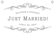 Custom Classic Just Married Getaway Sign  Name by SixpencePress, $55.00