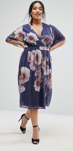 36 Plus Size Wedding Guest Dresses {with Sleeves} - Plus Size Cocktail Dresses - alexawebb.com #plussizepartyoutfit