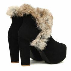 Faux Fur Heel Ankle Boots