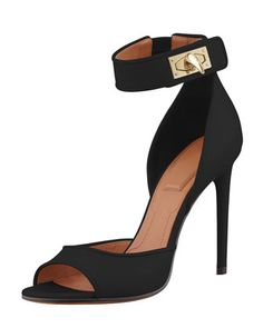 Shark-Lock Ankle Wrap Sandal, Black by Givenchy at Neiman Marcus.