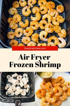 This contains: frozen shrimp in air fryer Air Fry Recipes, Air Fryer Dinner Recipes, Healthy Recipes, Frozen Chicken Wings, Meal Prep Guide, Frozen Shrimp, Air Fryer Healthy, Party Food And Drinks, How To Cook Shrimp