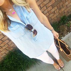 437c8c7175e952 Love this sleeveless chambray shirt and white pants. Madeline Kempf · Kendra  Scott