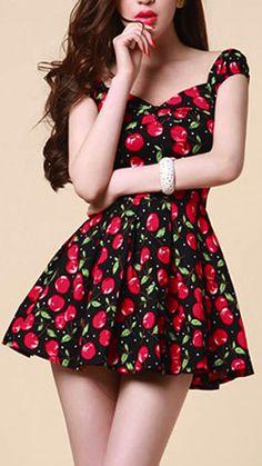 c755b1b74eb Cherry Print High Waisted Pleated Off Shoulder Mini Skater Dress   grxjy561344