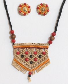 Beige Thread Necklace and Earrings with Red and Black Beads (Thread))