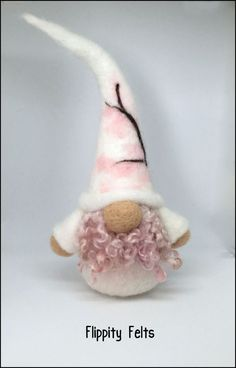Unique and adorable needle felted tomte gnome with a pink and white sakura design Christmas Decorations Sewing, Christmas Crafts, Christmas Ideas, Christmas Fairy, Christmas Ornaments, Felt Crafts Patterns, Felted Wool Crafts, Needle Felting Tutorials, Felt Fairy