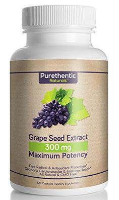 Grape Seed Extract Capsules 120 Count 4 Month Supply Natural Maximum Potency Purethentic Naturals 95 Proanthocyanidins No Messy Liquid or Loose Powder 1 Bottle >>> Read more at the image link. Antioxidant Supplements, Natural Supplements, Herbal Remedies, Health Remedies, Natural Remedies, Womens Health Care, Grape Seed Extract, Capsule, Loose Powder