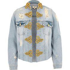 Light blue ripped military denim jacket €100.00