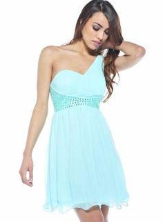 Teal/Turquoise Formal Dress - Aqua One Shoulder Dress with